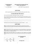 Quyết định Số: 1748/QĐ-UBND VỀ VIỆC BAN HÀNH BẢNG GIÁ TÍNH THUẾ TÀI NGUYÊN TRÊN ĐỊA BÀN TỈNH SƠN LA