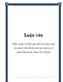 Luận văn: Thực trạng và hiệu quả đầu tư trong công tác phát triển đô thị mới tại công ty cổ phần đàu tư tài chính Việt Thành