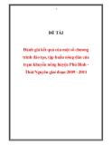 """ĐỀ TÀI """" Đánh giá kết quả của một số chương trình đào tạo, tập huấn nông dân của trạm khuyến nông huyện Phú Bình - Thái Nguyên giai đoạn 2009 - 2011 """""""
