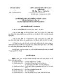 QUYẾT ĐỊNH CỦA BỘ TRƯỞNG BỘ TÀI CHÍNH Về việc ban hành và công bố sáu (06) chuẩn mực kế toán Việt Nam