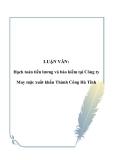 Luận văn về: Hạch toán tiền lương và bảo hiểm tại Công ty May mặc xuất khẩu Thành Công Hà Tĩnh