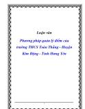 Luận văn Phương pháp quản lý điểm của trường THCS Toàn Thắng - Huyện Kim Động - Tỉnh Hưng Yên
