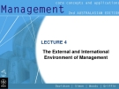 Management-LECTURE 4 The External and International Environment of Management