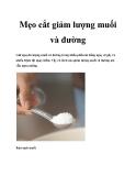 Mẹo cắt giảm lượng muối và đường