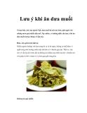 Lưu ý khi ăn dưa muối