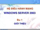 HỆ ĐIỀU HÀNH MẠNG WINDOWS SERVER 2003