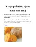 9 thực phẩm bảo vệ sức khỏe mùa đông