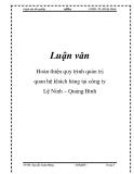 Luận văn: Hoàn thiện quy trình quản trị quan hệ khách hàng tại công ty Lệ Ninh – Quảng Bình