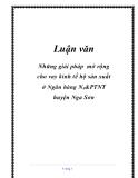 Luận văn tốt nghiệp: Những giải pháp mở rộng cho vay kinh tế hộ sản xuất ở Ngân hàng N 0 &PTNT huyện Nga Sơn