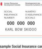APPLICATION FOR A SOCIAL INSURANCE NUMBER