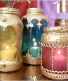 Từ lọ thủy tinh cũ hóa lọ đựng nến sắc màu Ả Rập