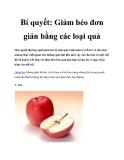 Bí quyết: Giảm béo đơn giản bằng các loại quả