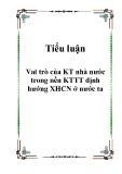 Vai trò của kinh tế nhà nước trong nền KTTT định hướng XHCN ở nước ta