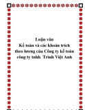 Luận văn Kế toán và các khoản trích theo lương của Công ty kế toán công ty tnhh Trình Việt Anh