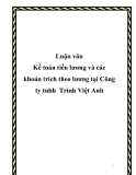 Luận văn Kế toán tiền lương và các khoản trích theo lương tại Công ty tnhh Trình Việt Anh