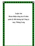 Luận văn Hoàn thiện công tác tổ chức quản lý tiền lương tại Công ty may Thăng Long