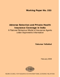 Adverse Selection and Private Health Insurance Coverage in India