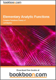 Elementary Analytic Functions Complex Functions Theory a-1