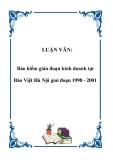 Luận văn thạc sỹ: Bảo hiểm gián đoạn kinh doanh tại Bảo Việt Hà Nội giai đoạn 1998 - 2001