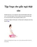 Tập Yoga cho giấc ngủ thật sâu