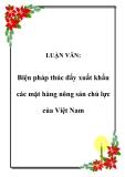 LUẬN VĂN:  Biện pháp thúc đẩy xuất khẩu các mặt hàng nông sản chủ lực của Việt Nam