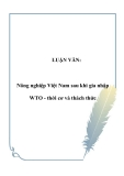 LUẬN VĂN:  Nông nghiệp Việt Nam sau khi gia nhập WTO - thời cơ và thách thức