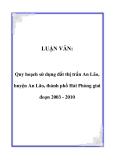 LUẬN VĂN:  Quy hoạch sử dụng đất thị trấn An Lão, huyện An Lão, thành phố Hải Phòng giai đoạn 2003 - 2010