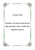 LUẬN VĂN:  Giải pháp cơ bản nâng cao hiệu quả hoạt động xuất khẩu ở công ty Cổ phần Xuất nhập khẩu Lạng Sơn