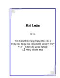 Đề Tài:  Tìm hiểu thực trạng trạng thái chú ý  trong lao động của công nhân công ty may Việt – Nhật khu công nghiệp  Lễ Môn, Thanh Hóa