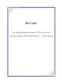 Đề Tài: Xây dựng chương trình quản lý hồ sơ học sinh  trường trung học phổ thông tháng 10 – Tuyên Quang