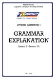 JAPANESE ELEMENTARY I  GRAMMAR EXPLANATION (Lesson 1 – Lesson 10)