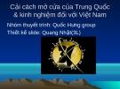 Cải cách mở cửa của Trung Quốc & kinh nghiệm đối với Việt Nam