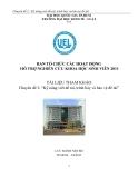 Chuyên đề:Kỹ năng viết đề tài, trình bày và bảo vệ đề tài