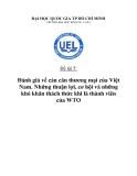 Tiểu luận:Đánh giá về cán cân thương mại của Việt Nam. Những thuận lợi, cơ hội và những khó khăn thách thức khi là thành viên của WTO