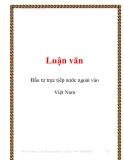 Luận văn: Đầu tư trực tiếp nước ngoài vào Việt Nam