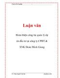 Luận văn: Hoàn thiện công tác quản lý dự án đầu tư tại công ty CPĐT & XNK Đoàn Minh Giang