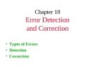Chapter 10:  Error Detection and Correction
