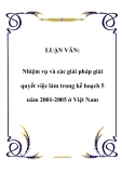 LUẬN VĂN:  Nhiệm vụ và các giải pháp giải quyết việc làm trong kế hoạch 5 năm 2001-2005 ở Việt Nam