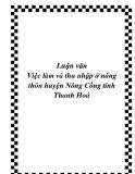 Luận văn đề tài: Việc làm và thu nhập ở nông thôn huyện Nông Cống tỉnh Thanh Hoá
