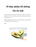 10 thực phẩm bổ dưỡng cho da mặt