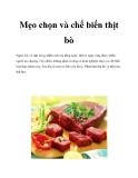 Mẹo chọn và chế biến thịt bò