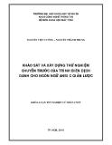 LUẬN VĂN:KHẢO SÁT VÀ XÂY DỰNG THỬ NGHIỆM CHUYẾN TRƯỚC CỦA TRÌNH BIÊN DỊCH DÀNH CHO NGÔN NGỮ ANSI C GIẢN LƯỢC