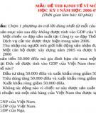 Mẫu đề thi kinh tế vĩ mô 1,  học kì 1 năm học 2006 - 2007