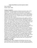 Oganizational Behavior personal experience analysis