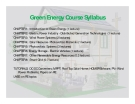 Green Energy Course Syllabus