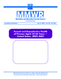 Sexual and Reproductive Health   of Persons Aged 10–24 Years —   United States, 2002–2007