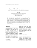 """Báo cáo """" Impacts of climate change on water resources in the Huong River basin and adaptation measures """""""