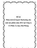 Luận văn:  Phân tích kế hoạch Marketing cho một sản phẩm năm 2011 tại Công ty Cổ Phần Ác Quy Hải Phòng