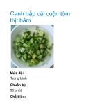 Canh bắp cải cuộn tôm thịt bằm