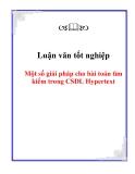 Đề tài: Một số giải pháp cho bài toán tìm kiếm trong CSDL Hypertext